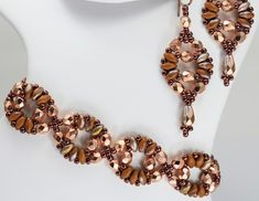 Deb Roberti's Circe Bracelet and Earrings pattern done in 2015 Spring Fashion color Marsala