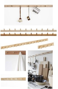 Shaker peg rack: hang everything from pans to clothes, & chairs from. Diy Interior, Interior And Exterior, Shaker Furniture, Shaker Style, Spare Room, Modern Kitchen Design, Home And Living, Sweet Home, New Homes