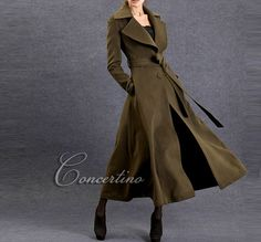 Green Winter Coat / Fit and Flare Wool Coat / Womens by Concertino, $139.00