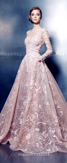 Ziad Nakad ~ Haute Couture Embroidered Lace Ball Gown, Soft Pink 2016