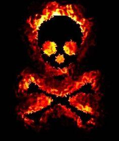 Flaming Skull Fire Image