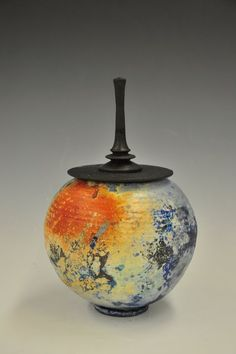 Jason Palmer - Sagger Fired Lidded Vessel, Glazed with metal gasses and organic material