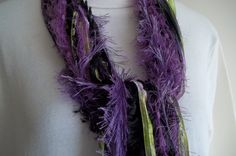 Which pansies are your favorite? Purple Pansy String Scarf   Purple Green Black  by AuntBsAttic