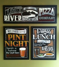 Part of a number of chalkboard signs made for Lost River Pizza Company. ArtFX Design Studios cresates custom chalkboard signs & chalkboard menus for restaurants, businesses and corporate.www.artfxdesignstudios.com