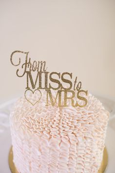From Miss To Mrs Cake Topper  Bridal Shower Cake Topper