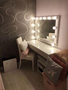 Купить Гримерное зеркало WITHE GLOSS - белый, глянец, зеркало, гримерное зеркало, глянцевое зеркало