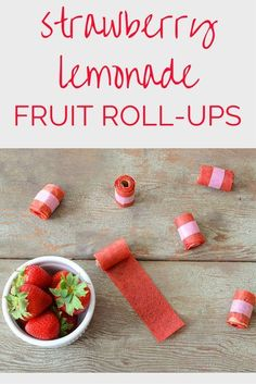 Easy two ingredient fruit rollups recipe made with strawberries and lemon juice. This is one of the few fruit roll up recipes that does not require multiple methods, you simply blend the ingredients together, then pop them in the oven --no dehydrator required! The perfect healthy kid snack for school lunches, my boys can't get enough of these strawberry lemonade fruit roll ups!