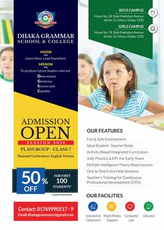 Flyer for school admission school admission form, school template, flyer template, brochure design Brochure Layout, Brochure Design, Stationery Design, Tutoring Flyer, School Admission Form, School Advertising, School Brochure, Web Design, Media Design
