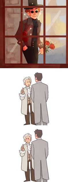 friendly reminder that this scene exists Jandy Nelson, Good Omens Book, Yuri, Technology Humor, History For Kids, Angels And Demons, Fanart, Crowley, Cute Gay