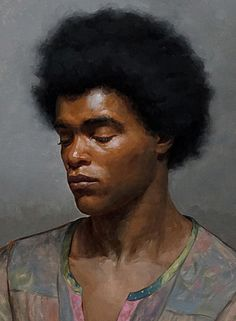 """Levi Maxwell"" - Patrick Byrnes, oil on canvas panel {figurative #impressionist art male head #naturalhair african-american black man face portrait cropped painting} patrickbyrnespaintings.com"