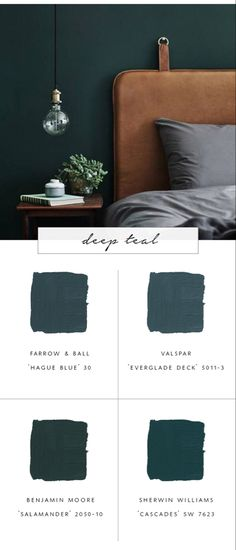 our top favorite paint colors for fall 2017 & deep teal & coco kelleyThe post Our Favorite Paint Color Trends for Fall 2017 & coco kelley appeared first on Dekoration. Green Paint Colors, Bedroom Paint Colors, Color Blue, Teal Bedroom Walls, Teal Master Bedroom, Blue Green, Teal Blue, Green Shades, Wall Paint Colours