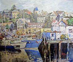 """Gloucester Harbor,"" Dennis Poirier, oil on canvas, 20 x 24"", Blue Hill Bay Gallery."