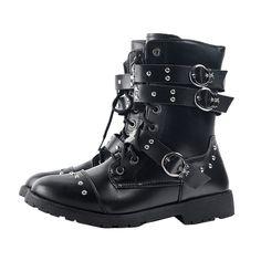 Punk Fashion Mens Shoes Black Rivet Leather Rivets, Black Leather, Black Shoes, Men's Shoes, Comfortable Boots, Metal Buckles, Punk Fashion, Sisters, Ankle Boots