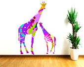 Girafe murale stickers, coloré abstrait mère et bébé girafe décalcomanies, Baby Shower Gift, décoration murale pépinière, Stickers animaux Safari