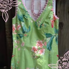 HOST PICK Garden print dress Beautiful green with pink and coral butterfly's and flowers; pink lining; side slit and pink trim at bodice; I wore this dress once and got zillions of compliments from strangers; 100% cotton; made in USA; quality dress no rips or stains; in like new condition; perfect for a spring/summer event such as a wedding, shower, etc, print in perfectly on trend Geary Roark Dresses