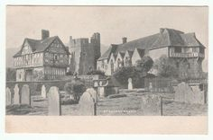 Stokesay Castle (near Ludlow, Shropshire) - Old Postcard, Vintage Photo - Graveyard