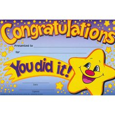 """Reward students who work hard with bright, colorful Recognition Awards. Each 8-1/2"""" x 5-1/2"""" award is printed on sturdy card stock. Each shrink-wrapped package contains 36 identical awards."""