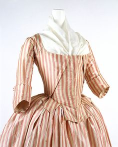 Robe a l'anglaise - 1785-87 - French - silk  MET C.I.66.39a,b  Notes love the waist tabs in the front and the mini robing like dividers