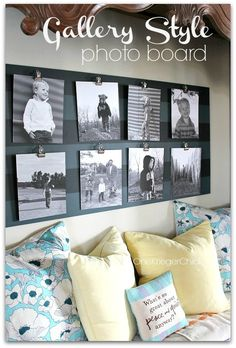 DIY Gallery Photo Board - I love the stripes and how easy it is to change out pictures!  Cute for displaying kids artwork too!