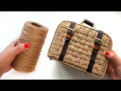 In this video I will show how to make a woven suitcase from jute and cardboard. In addition to jute and cardboard, you will need glue, f. Jute Flowers, Cardboard Suitcase, Jute Crafts, Vintage Suitcases, Vintage Luggage, Jute Bags, Cardboard Crafts, Easy Crafts For Kids, Handmade Bags