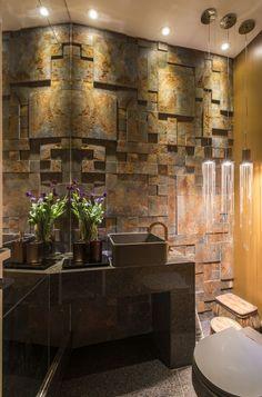 Lavabo, decoração, decoração para lavabo, aço corten, corten, iluminação para lavabo, iluminação, pendente, pendente para lavabo, cuba de apoio, bancada marrom