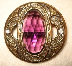 Beautiful Gay 90's Jeweled Button, Faceted Oval Amethyst Glass