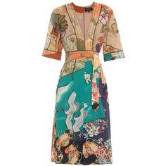 GUCCI Japanese-print silk dress
