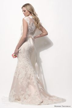 modern trousseau spring 2014 finnley cap sleeve lace blush shell pink wedding dress