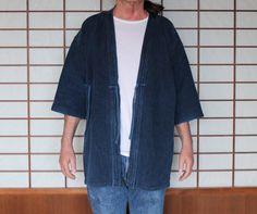 Kendo Jacket, Kendogi, Vintage Japanese Indigo Hanten, Kendo Gi, Japanese Cotton Coat, Men's Jacket, Sashiko Woven Hanten by KominkaFabricsJapan on Etsy