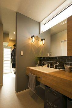 Wash Stand, Household Chores, Laundry Room Design, Bathroom Layout, Modern Chandelier, Washroom, Brown Wood, Home Renovation, Home Interior Design