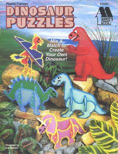 Dinosaur Puzzles quick and easy plastic canvas patterns. Puzzle Crafts, Book Crafts, Craft Books, Plastic Canvas Crafts, Plastic Canvas Patterns, Stuffed Animal Patterns, Dinosaur Stuffed Animal, Dinosaur Puzzles, Green Craft