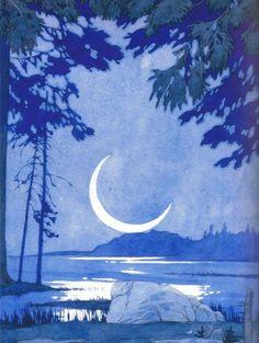 Ivan Bilibin detail from Russian Legends: Folk Tales and Fairy Tales Nocturne, Ivan Bilibin, Moon Witch, Russian Painting, Moon Painting, Moon Magic, Moon Art, Stars And Moon, Magick
