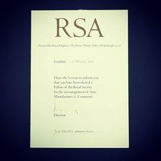 弊社前社長高岡重蔵 が95年に 英国王立芸術協会 @theRSAorg  のフェローに選ばれました  #RSA #Art #Society #british