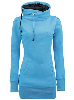 Blue Drawstring High Neck Sweatshirt