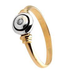 Pierścionek z białego i żółtego złota z brylantem o masie 0,05 ct. Próba 0,585