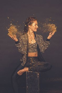 Lululemon's Holiday Line Is A Full-On Glitter Party #refinery29  http://www.refinery29.com/2014/11/78352/lululemon-holiday-collection#slide4  lululemon Shine Tight Roll Down, $92, available at lululemon; lululemon Core Set Bra, $52, available at lululemon; lululemon Party Bomb Jacket, $118, available at lululemon.
