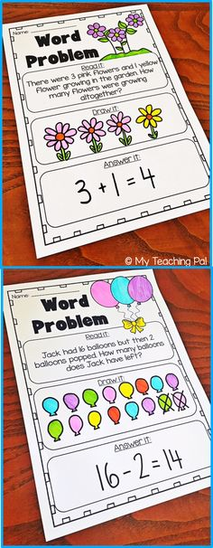 & Subtraction Word Problem Worksheets - Kindergarten and First Grade Addition and subtraction word problem printable worksheets for Kindergarten and First Grade.Addition and subtraction word problem printable worksheets for Kindergarten and First Grade. Addition Words, Math Addition, Addition Games, Addition Worksheets, Kindergarten Worksheets, Math Activities, Subtraction Worksheets, Differentiated Kindergarten, Subtraction Strategies