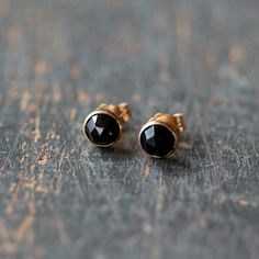 Black Spinel Gold Stud Earrings 14k Yellow Gold by ShopClementine