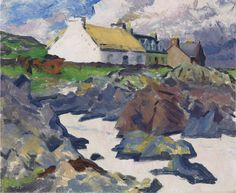 Francis Campbell Boileau Cadell (1883-1937) Cottage on the Shore, Iona 1930 (36,8 x 44,5 cm)