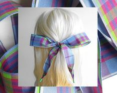 Etsy :: Your place to buy and sell all things handmade Hair Ribbons, Ribbon Hair, Hair Ties, Girl Hairstyles, Women Jewelry, Hair Accessories, Plaid, Bows, Pink