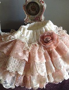 Boda niña de las flores Vintage de encaje con por Babybonbons