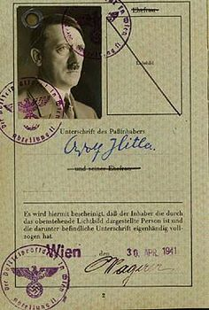 Adolf Hitler's passport, a document forged by British Intelligence for propaganda purposes. Germany Ww2, Fourth World, War Photography, Public Records, European History, World Empire, Military History, World War Two, Wwii