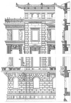 Vienna. Gusshausstrasse, 10. Architect Wendeler & Hieser. The architecture of the second half of the XIX century. Drawings and sketches.