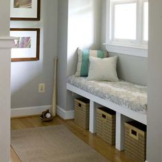 Fit a Window Seat in an Alcove    How to do it: Support a ¾-inch plywood seat deck on 2x6 hanging strips anchored into the side and back walls. To form the cubbies, glue and nail in place two plywood dividers. Face the unit with 1x4 poplar.    Estimated cost: Materials for a seat similar to this one, about $60; at lumber yards. 16-by-26-inch Gripper Sensations Microsuede Window Seat Cushion, about $30; JCPenny