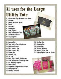 Thirty-One ~ 31 uses for the Large Utility Tote
