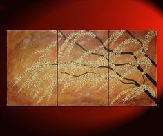 Large Painting Burnt Orange Modern Huge Art Cherry by NathalieVan, $425.00