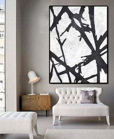 Huge Abstract Painting On Canvas, Vertical Canvas Painting, Extra Large Wall Art, Abstract Art Tree, Handmade. Black white with textures.