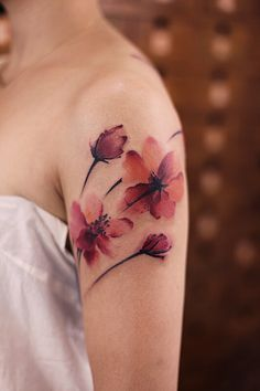 coolTop Watercolor tattoo - chinese ink painting in Neue Tattoos, Body Art Tattoos, Sleeve Tattoos, Tatoos, Water Color Tattoos, Flower Tattoo Meanings, Flower Tattoo Designs, Painting Tattoo, Ink Painting