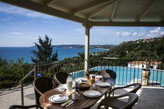 "A raised, shaded veranda for ""al fresco"" dining, not only overlooks the pool, but has stunning sea views. Beach Villa, Beautiful Villas, Al Fresco Dining, Outdoor Furniture Sets, Outdoor Decor, Patio, Sea, Home Decor, Decoration Home"