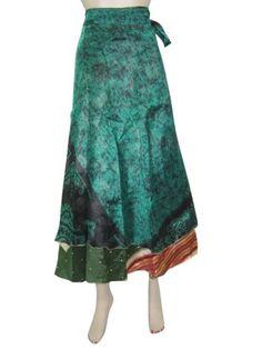 Green Multi Wear Skirts, Vintage Silk Sari Reversible 2 Layer Wrap Around Skirt Mogul Interior,http://www.amazon.com/dp/B00F3WC5OY/ref=cm_sw_r_pi_dp_ibtmsb08NVX5G1XQ